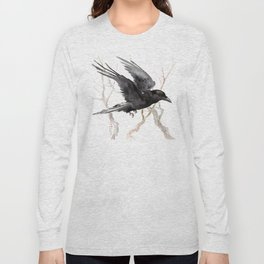 Flying Raven Art, raven crow tribal design Long Sleeve T-shirt