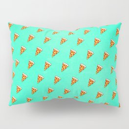 Cool and Trendy Pizza Pattern in Super Acid green / turquoise / blue Pillow Sham