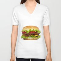 hamburger V-neck T-shirts featuring Triangular HAMBURGER by JOlorful
