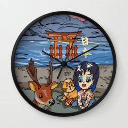 Kawaii girl on Miyajima Island Japan Wall Clock
