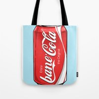 bane Tote Bags featuring Bane Cola by Jesus Bane