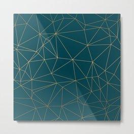 Benjamin Moore Hidden Sapphire Gold Geometric Pattern Metal Print