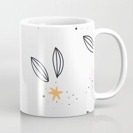 Minimal Line Art Leaves and Yellow Stars Coffee Mug
