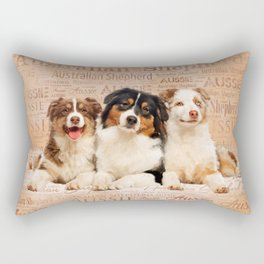 Australian Shepherd dogs  on Word Cloud 1 Rectangular Pillow