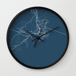 Kalmar Blueprint Street Map, Kalmar Colour Map Prints Wall Clock