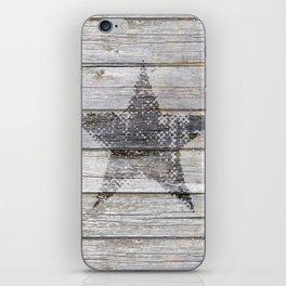 Grunge Star on old weathered grey wood iPhone Skin