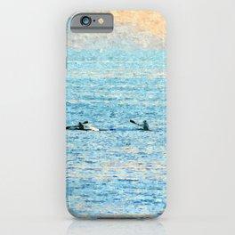 Kayakers kayaking at sea iPhone Case