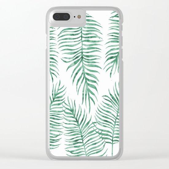 Fern Pattern Green Clear iPhone Case