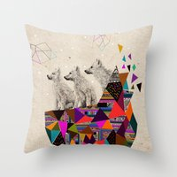 stickers Throw Pillows featuring The Night Playground by Peter Striffolino and Kris Tate by Kris Tate