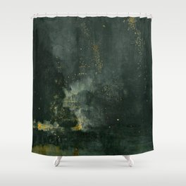 James Abbott McNeill Whistler - Nocturne in Black and Gold – The Falling Rocket Shower Curtain
