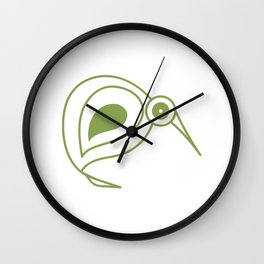 Green kiwi bird from New Zealand artist Wall Clock
