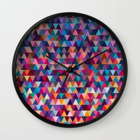 triangles Wall Clocks featuring Triangles by Ornaart