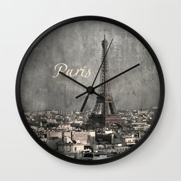 I love Paris {bw Wall Clock
