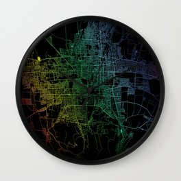 Bishkek, Kyrgyzstan, City, Map, Rainbow, Map, Art, Print Wall Clock