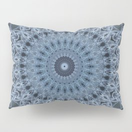 Gray and light blue mandala Pillow Sham