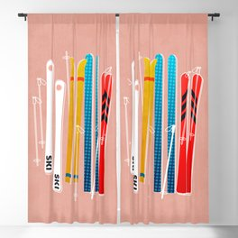 Colorful Ski Illustration and Pattern no 2 Blackout Curtain