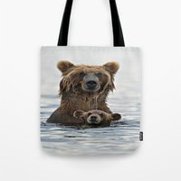 bears Tote Bags featuring BEARS!!! by Donutwrangler