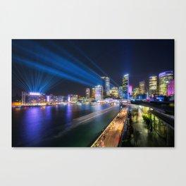 Laser Show above the Sydney Skyline Canvas Print