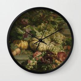 Gerardina Jacoba Van De Sande Bakhuyzen - Still Life With Flowers And Fruit Wall Clock