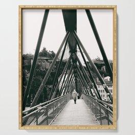 Pedestrian Bridge in Lyon - Fine Art Black and White Photography Serving Tray