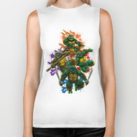 teenage mutant ninja turtles Biker Tanks featuring Teenage Mutant Ninja Turtles by Magik Tees