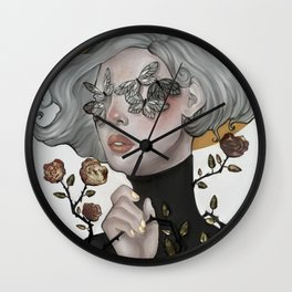 Butterflies and Roses Wall Clock