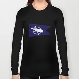 Nantucket Blue and White Sperm Whale Burgee Flag Hand-Painted Long Sleeve T-shirt