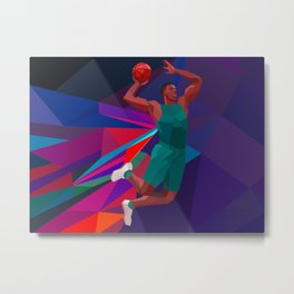 Basketball player polygon style Metal Print