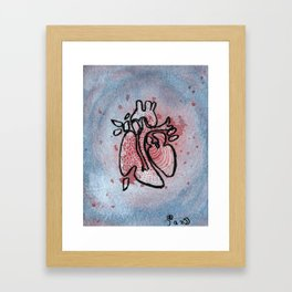 Abstract Watercolor Heart Framed Art Print