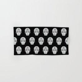 Día de Muertos Calavera • Mexican Sugar Skull – White on Black Palette Hand & Bath Towel