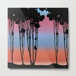 Forest Silhouette Spring Sunset by Seasons K Designs for Salty Raven Metal Print
