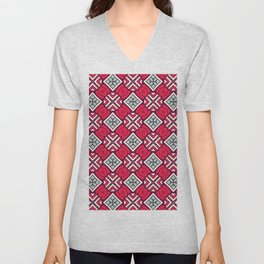 Graphic Tile Pattern in Red and Sage  Unisex V-Neck