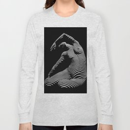 0077s-DJA Abstract Photograph of Seated Woman Striped by Light and Shade Long Sleeve T-shirt