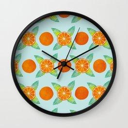 Watercolor Oranges Pattern in Blue Wall Clock