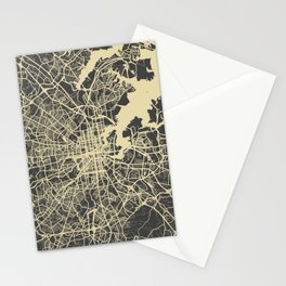 Baltimore map yellow Stationery Cards