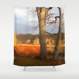 Delaware River Glowing Fall Foliage Shower Curtain