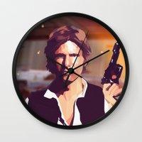 han solo Wall Clocks featuring Han Solo by Cesar Carlevarino