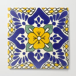 talavera mexican tile in yellow Metal Print