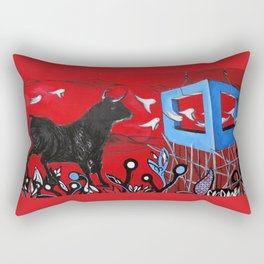 Trapped Bull Rectangular Pillow