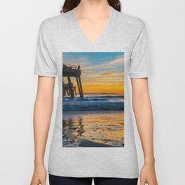 Wet Sand Island Sunset Unisex V-Neck