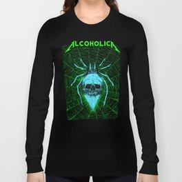 ALCOHOLICA SPIDER SKULL WEB 80's thrasher Long Sleeve T-shirt