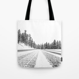 Snow Road // Snowy Winter Wonderland Black and White Landscape Photography Ski Poster Tote Bag