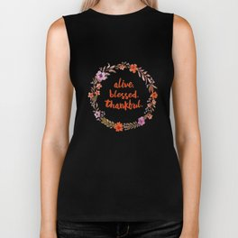 Alive. Blessed. Thankful. Watercolor Wreath. Thanksgiving Art Biker Tank