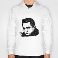 johnny cash Hoodies featuring Johnny Cash by Feral Doe
