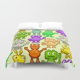 Background with funny robots Duvet Cover