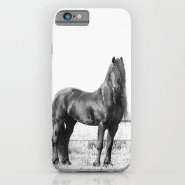 Dark Horse, Black and White Nature Photography iPhone Case