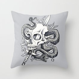 Snake Skull Throw Pillow