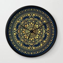 Blue & Gold Boho Pattern Wall Clock