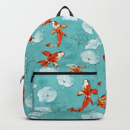 Waterlily koi in turquoise Backpack
