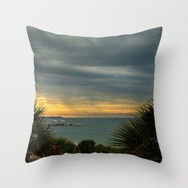Cloudy Rainy Sunset De Soto Beach Coastal Landscape Photo Throw Pillow